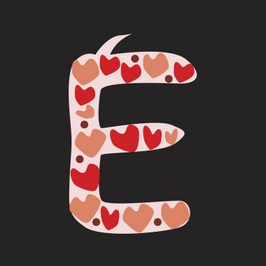 A letter E with red and pink doodle hearts isolated on black bac