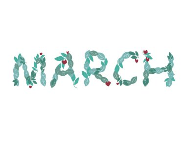 A text march with font from green leaves isolated on a white background for design, a vector stock illustration with the word or letters for print