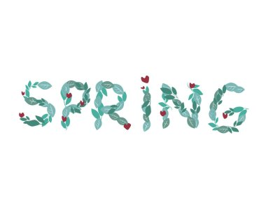 A text spring with a font of green leaves is isolated on a white background for design, a vector stock illustration with a word or letters for season