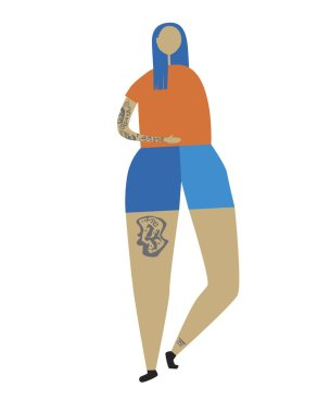 A Young or adult woman with tattoos and blue hair isolated on a white background for design, a flat vector stock illustration as a concept of a body positive and a beauty standard