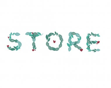 A lettering with text Store is isolated on a white background for design. Flat vector stock illustration with natural leaves and word for eco shop or shop of organic products