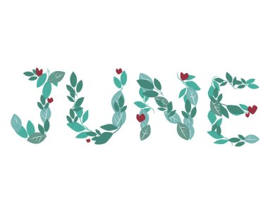 A text with the word june as a sticker for the decor of the Bullet Journal or diary isolated on a white background for design. A vector stock illustration with font with leaves for June.