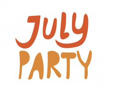 Lettering with the text July party is isolated on a white background as a card, greeting or invitation. Bright comic vector stock illustration with letters or phrase about summer for design.