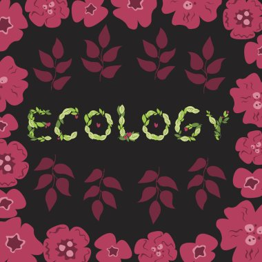Lettering with ecology text made from green leaves and red doodle flowers on a black background. Flat vector stock illustration with the word eco for social media advertising