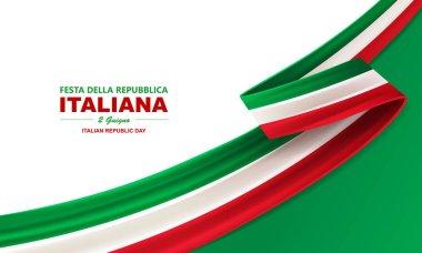 Italian republic day, 2th June, festa della repubblica Italiana, bent waving ribbon in colors of the Italian national flag. Celebration background.