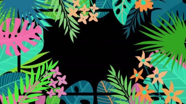 Nyári trópusi virágok növényi keret (hurok)