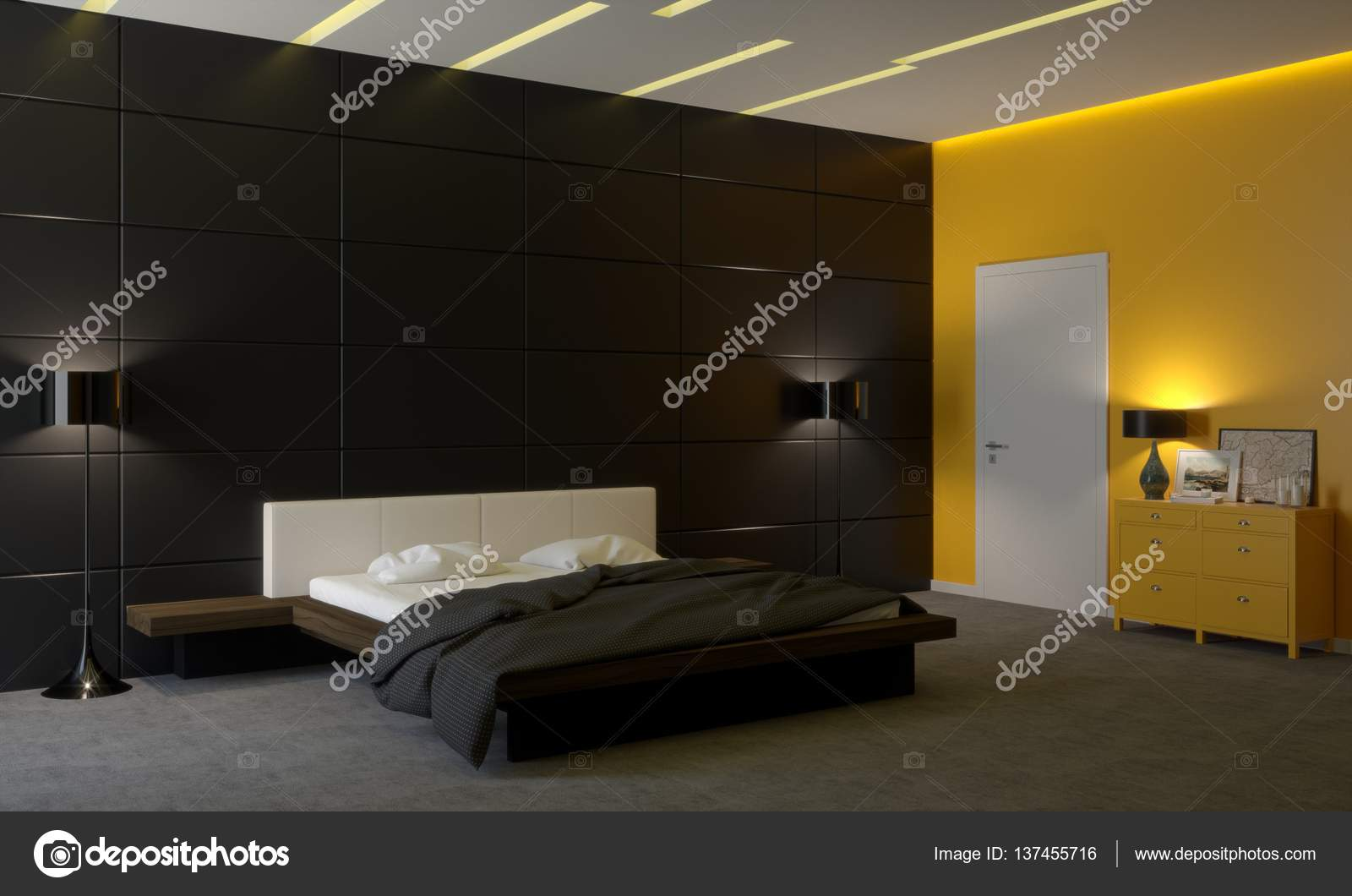 Das schlafzimmer im stil des minimalismus u2014 stockfoto