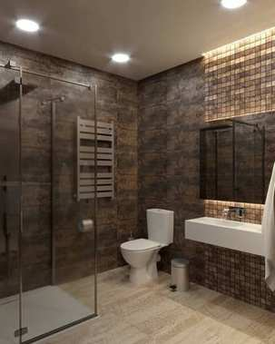 3D A bathroom is in a brown color
