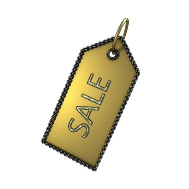 Gold sale tag on a white background stock vector