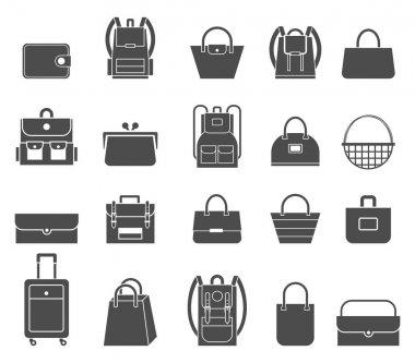 Shopping icons set. Bag icons.