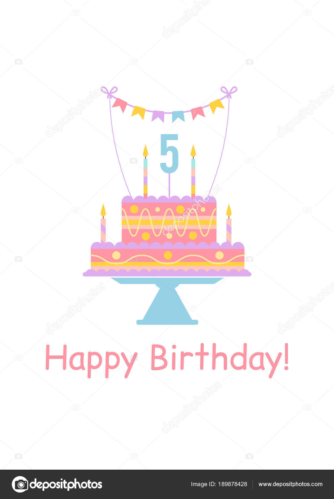 Cute Happy Birthday Card With Cake And Candles Stock Vector