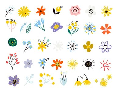"""Картина, постер, плакат, фотообои """"colorful floral collection. vector set of summer flowers in a flat style. spring easter decoration from leaves of branches and wildflowers. scandinavian style. modern design. botanical floral"""", артикул 354816252"""