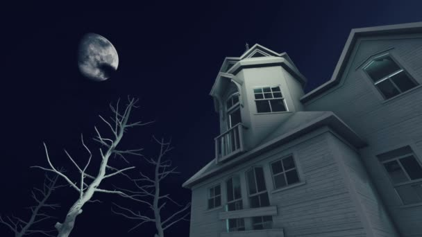 Strašidelného domu v noci děsivé měsíc 4k Time lapse
