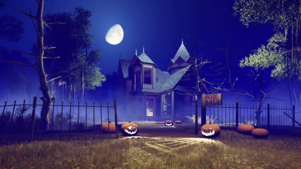 spooky halloween haunted house at foggy night with fantastic big moon 4k stock video