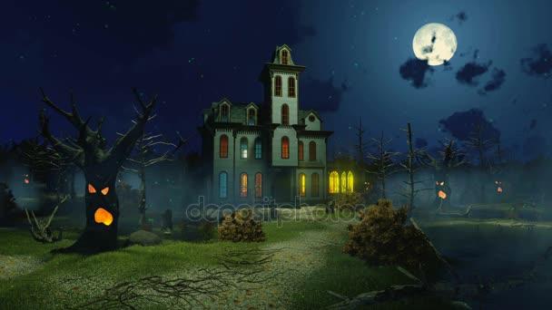 Félelmetes kastély a ködös éjszaka cinemagraph