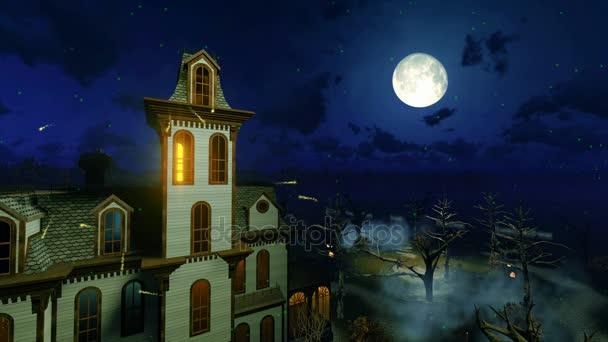 A misztikus éjszaka cinemagraph ijesztő kísértetjárta kastély