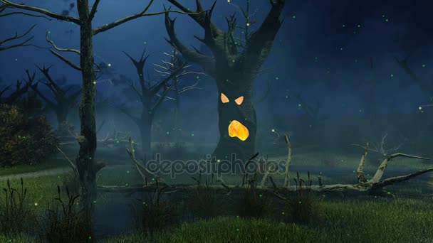 Fantastic spooky tree at night swamp cinemagraph