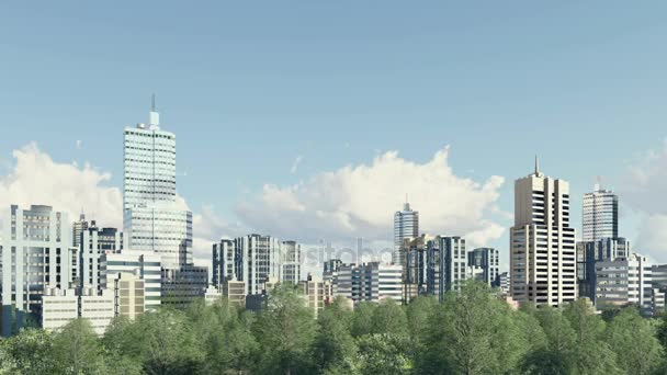 Modern city skyline and park zone panorama 4K