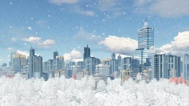 Modern nagyváros park zónával havazás 4k animáció