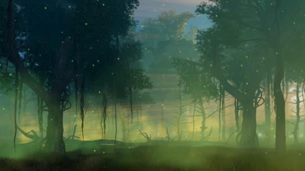 Firefly fény ködös éjszakai erdő cinemagraph