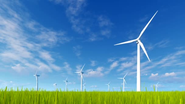 Wind turbines on a green grass field at spring day