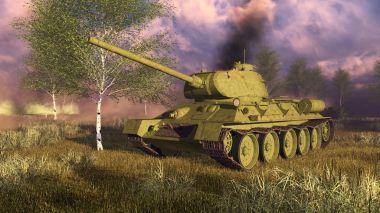 Russian tank T-34 on WWII battlefield