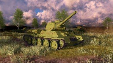 Old russian tank T 34 on WWII battlefield