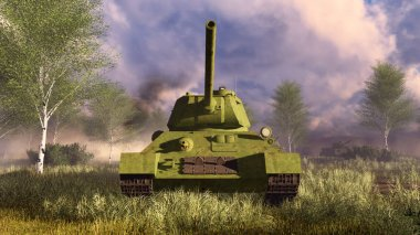 Old soviet tank T-34 frontal view
