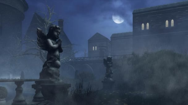 Cupid je socha v opuštěném parku na deštivé noci 4k animaci