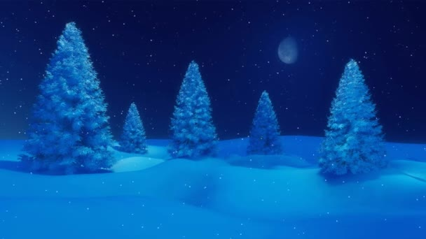 Snowy winter firs at calm snowfall night 4K animation