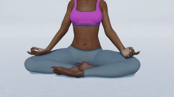 African woman in meditation easy pose close up 4K animation