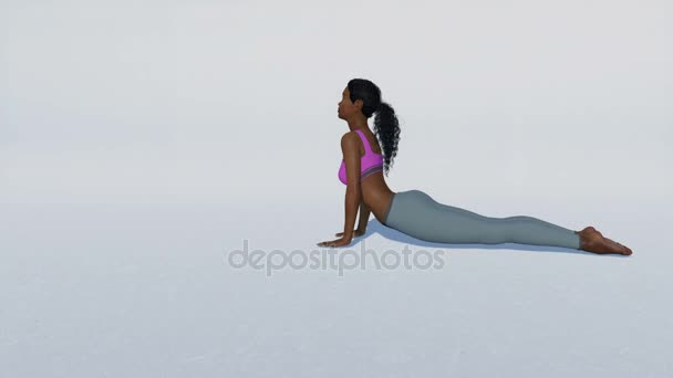 African woman in cobra pose yoga on white background loopable 4K animation