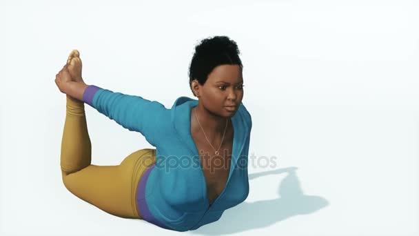 Curvy flexibilní Afričanka v přídi představují jóga zavřít až 4k