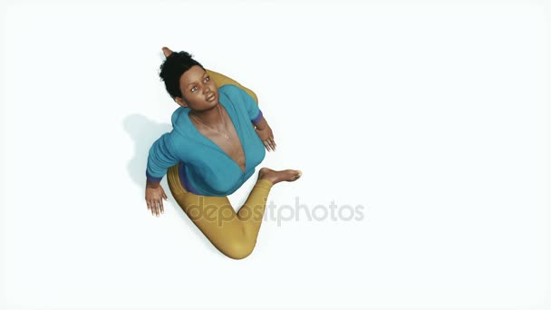 Curvy African Woman In Pigeon Pose Yoga Top View 4K Stock Video