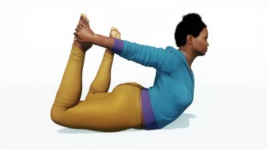 Plus size african woman in bow pose yoga on white background
