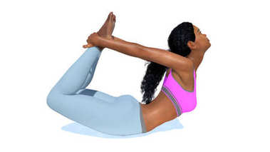 Young sporty african woman in bow pose yoga on white background