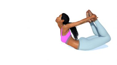 Slim african woman in bow pose yoga on white background
