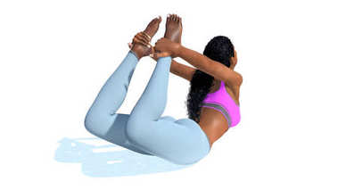 Young african woman in bow pose yoga on white background