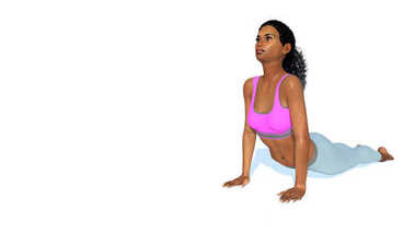 African woman in cobra yoga pose on white background