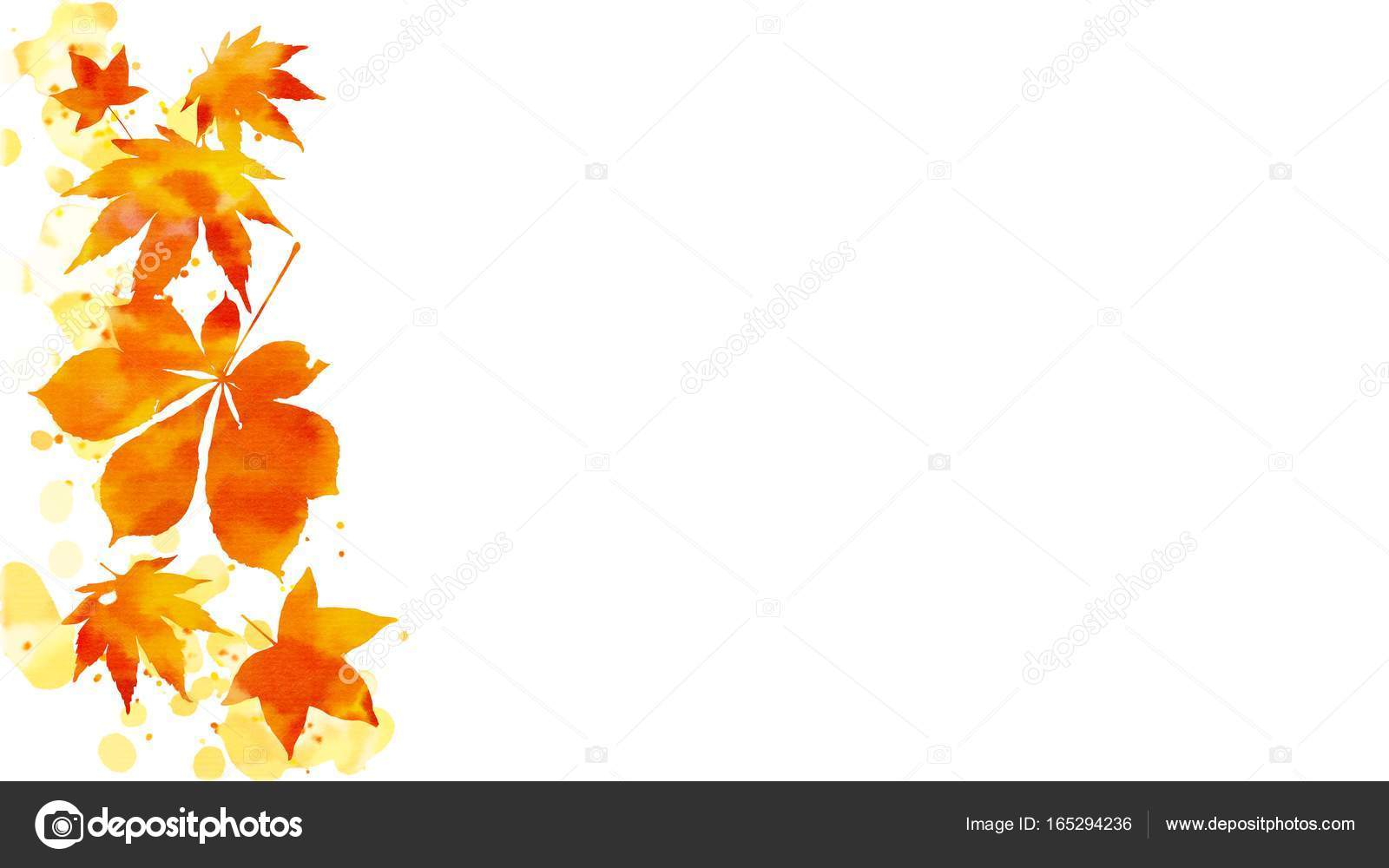 Border Of Vibrant Orange And Red Autumn Foliage On Abstract Watercolor Stains With Copy Space White Background Digital Art Painting May Be Used For