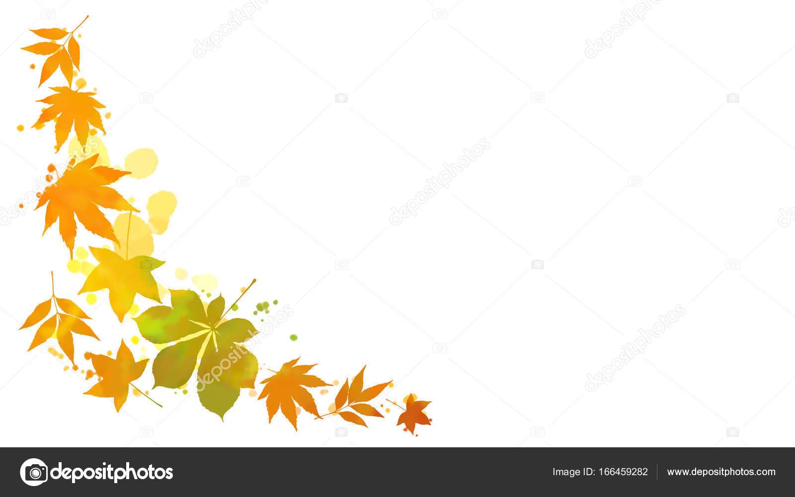 Sonbahar Yaprakları Ve Sulu Boya Lekesi çerçeve Stok Foto Marsea