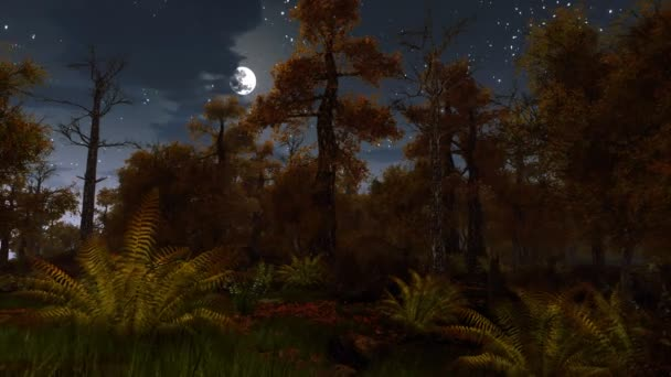 Scary autumn forest at full moon night 4K