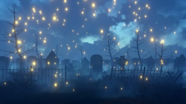 Kísérteties éjszaka temető 4k animáció firefly égősor