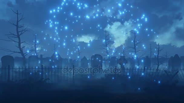Strašidelná noc hřbitov s kouzelnou firefly světla 4k animaci