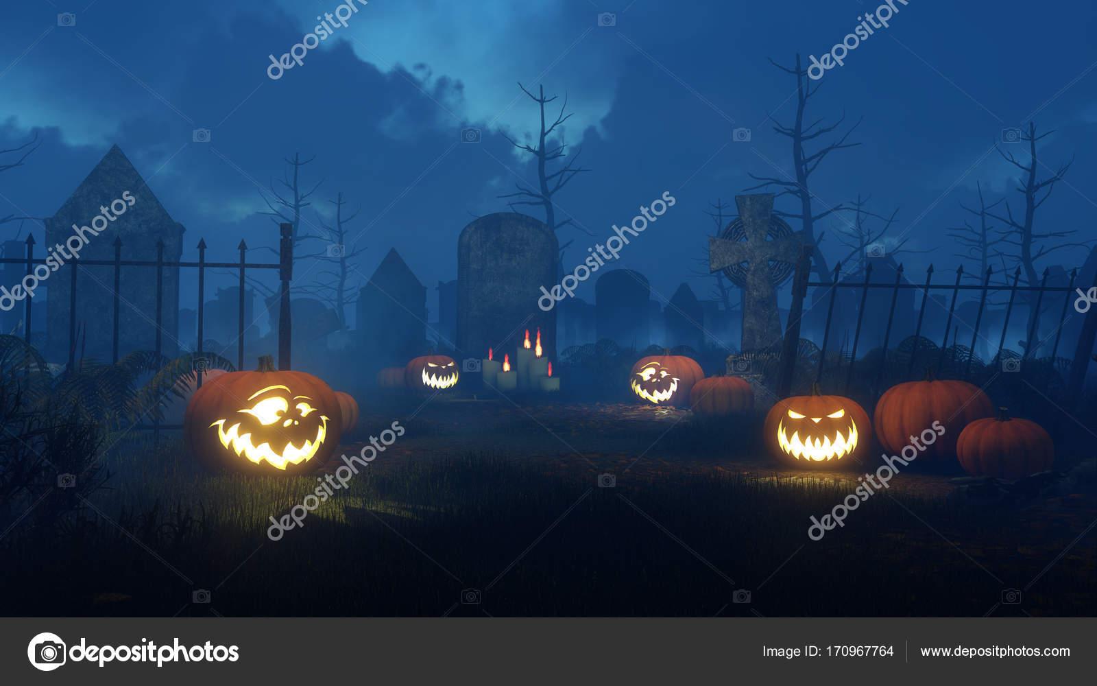 halloween pumpkins at night cemetery — stock photo © marsea #170967764