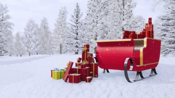 Mágikus Mikulás szán tele karácsonyi ajándékok között hó jelenet tartozó fenyő fa erdei havas téli napon. Fantasy, karácsony vagy újévi ünnepek nyújtott 4k, 3d animáció