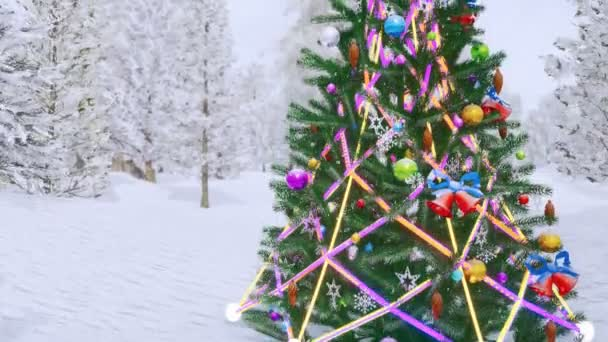 Close up of outdoor christmas tree decorated by christmas lights garland and baubles in snow covered spruce forest at snowfall. Festive 3D animation for Xmas or New Year holidays rendered in 4K