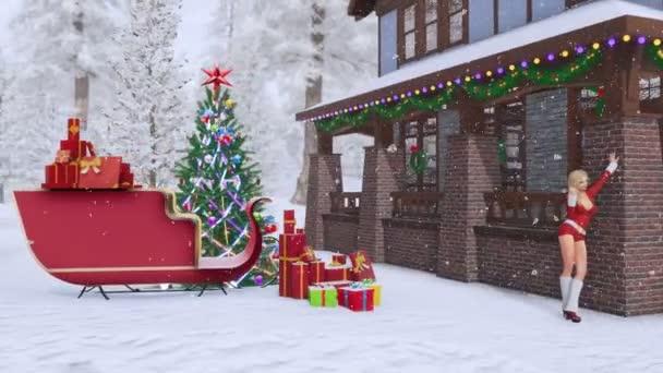 Sexy blondýnka v Santa Claus oblek poblíž Luxusní venkovský dům na Vánoce zdobí osvětlené jedle, Santovy saně a pozadím zasněžených lesů. 3D animace pro vánoční nebo novoroční svátky