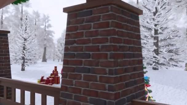 Luxusní dům zdobí vánoční venkovní osvětlenou jedle, santas sáně a blond dívka v sexy Santa Clause na jeho verandě na zasněžený den. 3D animace pro vánoční nebo novoroční svátky