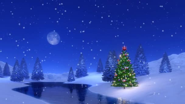 Outdoor decorated Christmas tree near frozen river among snowy fir forest at snowfall winter night with a full moon. Festive background for Xmas or New Year holidays in cinemagraph style